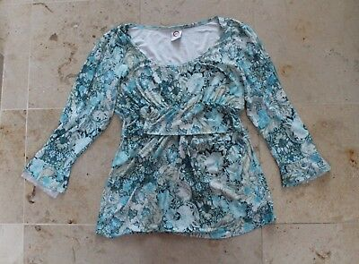 Japanese Weekend Maternity Blouse pregnancy and nursing blue floral design S