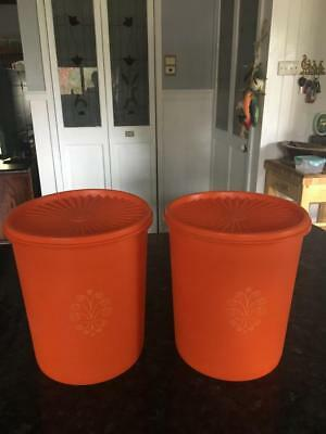 Vintage Tupperware Canisters - Orange - Press Seal.- Two - Fabulous