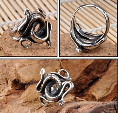Snake Ring 925 Sterling Silver Ring Punk Fashion Jewelry For Mens Accessories