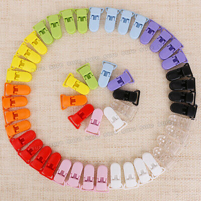 50 Mam Baby Pacifier T-Clip Style KAM Plastic Dummy Clip Mixed Colors