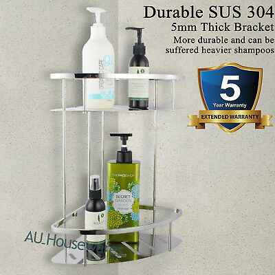 Bathroom Shower Caddy Stainless Steel 304 Wall Corner Rack Shelf Basket Chrome