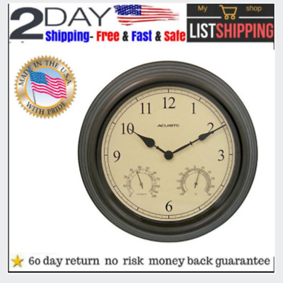15 in brown thermometer and hygrometer indoor//outdoor quartz wall clockwith