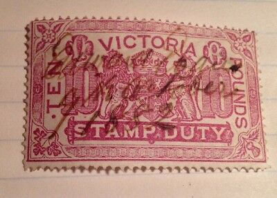 Victoria Duty Stamp , 10/- , 1882 . As In Photo.
