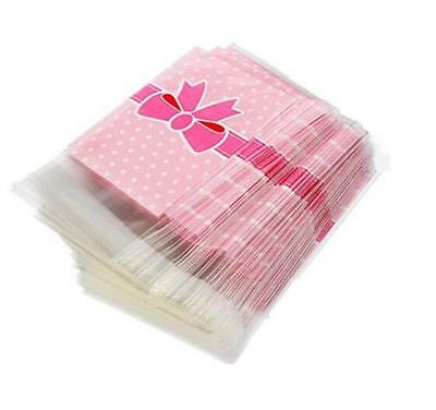 100pcs Candy Plastic Bag Biscuit Bow Two-Loop-Pink Pouch