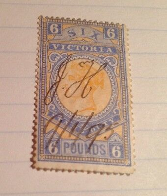 Victoria Duty Stamp ,Six Pounds , 1893.