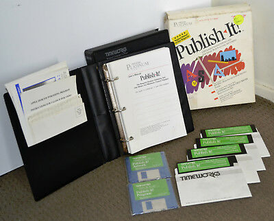 """COMPLETE TimeWorks Publish-It for Apple II/IIe/IIgs 5.25"""" & 3.5"""" Disks & Manual"""
