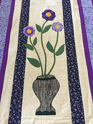 "Handmade quilt  ""flower in vase""  42"" x 56"" with applique"