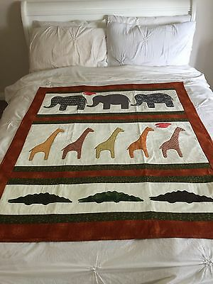 "Handmade quilt ""big creatures"" with applique size 41.5"" x 48.5"""