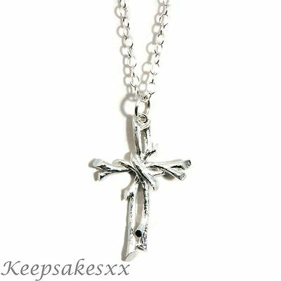 "CROSS of Twigs 3D Crucifix Pendant UK Sterling Silver Necklace 18"" Chain 925"