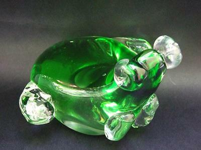 Vintage Murano Italian  Green Glass Whale Paperweight -Ornament C.1950's