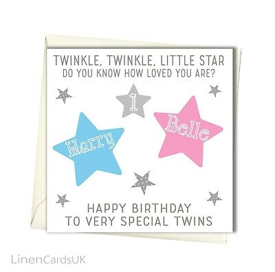 PERSONALISED TWINS BIRTHDAY Card Twin Girls Twin Boys 1st 2nd 3rd