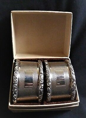 Vintage Pair of English Sterling Silver Napkin Rings , Vacant Cartouche , Boxed