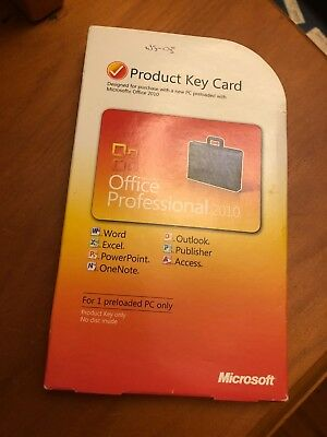 Microsoft Office Professional 2010 - has Product Key Card