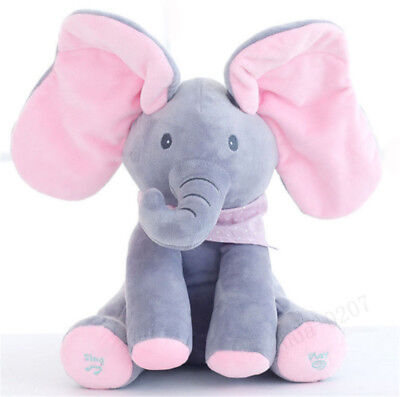 Peek-a-Boo Talking and Singing Plush Elephant PP Cotton Stuffed Doll Toys Baby
