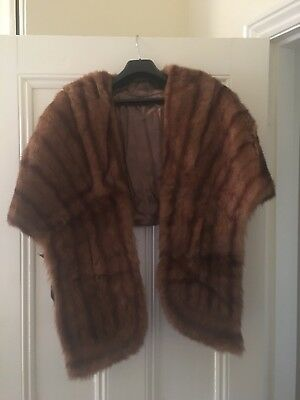 1940s Vintage Genuine Fox Fur Cape Shawl Stole Scarf with mini pockets Plus Size