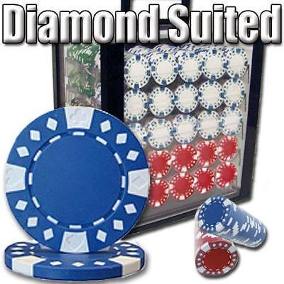 New 1000 Piece Diamond Suited 12.5 Gram Poker Chips Set Acrylic Case Pick Colors