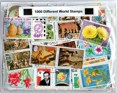 Worldwide Collection of 1000 Different Off Paper World Stamps