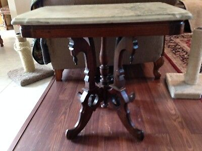 Antique mahogany white marble top parlor table, excellent condition, beautiful