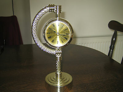 1970's 1980's ROPE EFFECT MANTEL CLOCK QUARTZ GOLD FACE VINTAGE RETRO