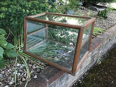Solid Wood Glass Vintage Antique Display case Cabinet Shelves