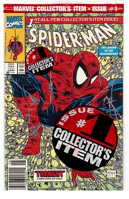 Spider-Man #1 (Marvel Comics) Newsstand Variant Polybagged Todd McFarlane NM+