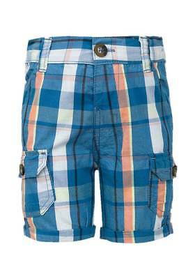 NEW  Minoti Toddler Boys Blue & Coral Check Cotton Cargo Shorts Ages 12m to 3yrs