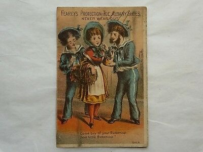 Antique Victorian Trade Card Fearey's Protection Toe Albany Shoe, Buttercup