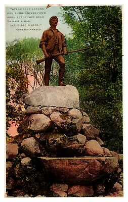 Vintage Postcard Statue of Captain Parker, Lexington Mass