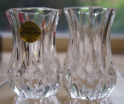 2 crystal vases  cristal d'arques  - Violette , boxed,  each 3inches tall