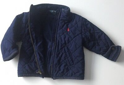 Ralph Lauren Navy Blue Quilted Padded Jacket Age 12 Months Spring Autumn