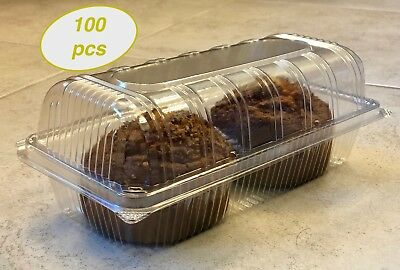 Plastic Hinged Lid Food Container, Cupcake, Cookies, Sandwich Take Out To-Go