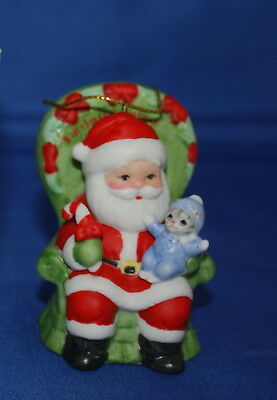 Kitty Cucumber Baby's First Xmas Baby Pickles On Santa's Lap Porcelain Ornament