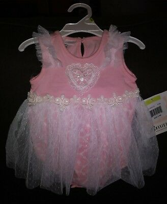 pink Baby girl romper with lace skirt, size 3-6 months. NWT