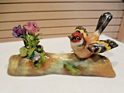 Vintage Crown Staffordshire Goldfinch Bird Figurine W/flowers
