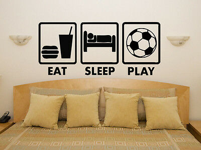 EAT SLEEP PLAY FOOTBALL wall decals kids teens bedroom wall stickers ...