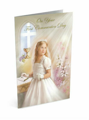 First Holy Communion Greeting Card For A Girl 195 Picclick Uk