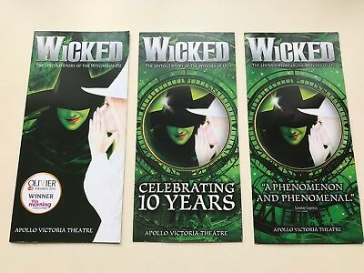 3 x Different Flyer WICKED The Musical Apollo Victoria Theate