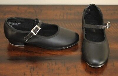 Theatricals BLACK MARY JANE SLIDE BUCKLE TAP SHOES sz 11 Girls Dance Taps