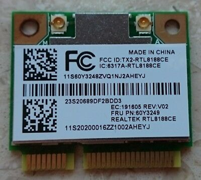Realtek RTL8188CE 802.11b/g/n WLAN WIFI Mini PCI Express +; ThinkPad 11b/g/n