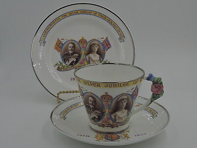 Paragon Silver Jubilee King George V & Queen Mary Cup & Saucer & Plate