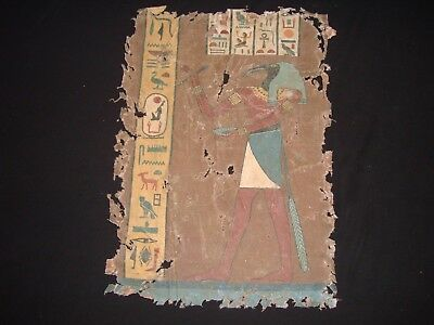Rare Antique Ancient Egyptian God Thoth on linen Book Of Thoth 1549-1069 BC