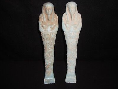 Rare Antique Ancient Egyptian Blue Faeince 2 Statue USHABTI Shabti 300-350 BC