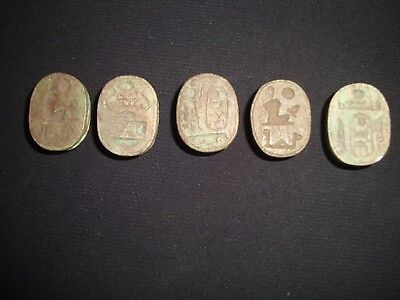 Rare Antique Ancient Egyptian 5 Scarab Beetle New Kingdom HIEROGLYPHS 600-300 BC