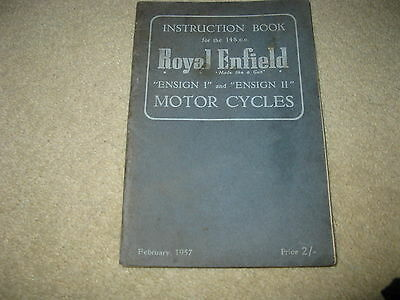 Royal Enfield Motorcycle Instruction Book - Ensign I II