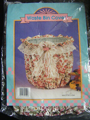 Vintage Shabby Chic Style Waste Paper Bin Floral Fabric Cover -NEW!!