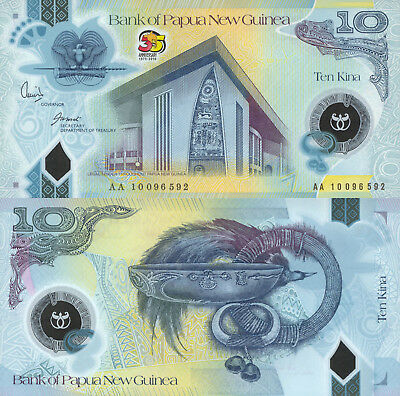 Papua New Guinea 10 Kina (2010) -Polymer/35 Years Independence/p40 UNC