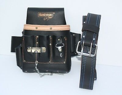 10 pkt Electrician Tool Bag Pouch + Waist Tool Belt - BOTH Oil TANNED LEATHER