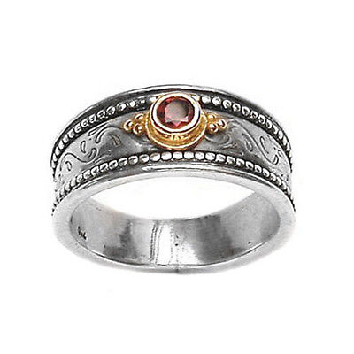 Gerochristo 2128 ~ Solid Gold & Sterling Silver with Ruby Medieval Band Ring