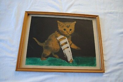 Framed Vintage Print Tabby Kitten with Leg in Splint, Unusual & Charming