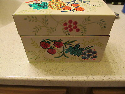 J Chen & Co~Fruit Theme~Metal Recipe Card Holder Box~MADE IN USA~Full of Recipes